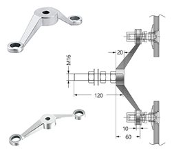 Double Arm Heavy Duty Post Mount Fitting