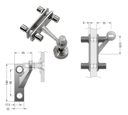 Single Arm Heavy Duty Wall Fin Mount Fitting with 45 angle