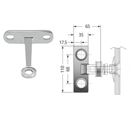 Single Arm Heavy Duty Wall-Fin Mount Fitting